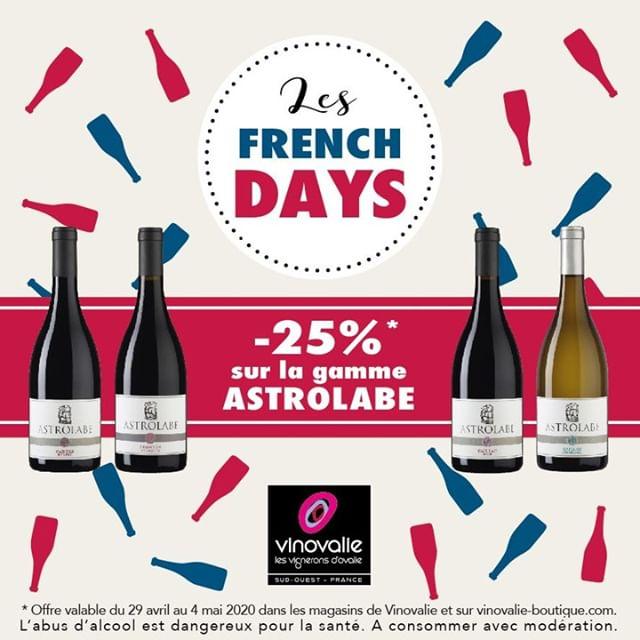 Les French Days*⠀ Profitez de -25% sur toute la gamme Astolabe !⠀ ⠀ Offre valable du 29 avril au 4 mai, dans les boutiques Vinovalie et sur  vinovalie-boutique. com⠀ #frenchdays #frenchdays2020 #vinovalie #astrolabe #wine #winelover #winemaker #aopgaillac #aopfronton #aopcahors #vinrouge #vinblanc #vinrose #cooperative #vin #cooperatovevinicole⠀ ⠀ *Les jours français