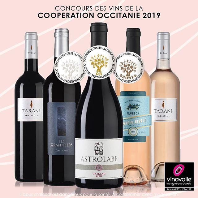#medailles 🥇🥈🥉les vins de Vinovalie salués au Concours des vins de la coopération Occitanie 2019! Bravos aux femmes et aux hommes qui œuvrent à faire exceller nos vins ! 👏👏👏 #wine #comtedenegret #astrolabe #tarani #aopgaillac #aopfronton #negrette @vinsdefronton @vinsdegaillac #winelover #occitanie #wineinstagram #frenchwine @lacooperationagricole @marquesandcoop @les_vinsdusudouest #vinovalie