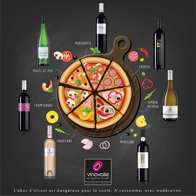 🍕 Dimanche soir... envie d'une pizza pour célébrer la journée mondiale de la pizza ?⠀ ⠀ Mais pas question de l'accorder avec n'importe quel vin 🍷 ! Voici de quoi vous guider dans votre recherche de l'accord parfait !⠀ ⠀ #pizzaday #vinovalie #saintmichel #aopgaillacperle #tarani #terreo #igpcomtetolosan #astrolabe #loindeloeil #aopgaillac #demonnoir #linfini #sansculotte #aopcahors #aopfronton #wineporn #accordmetsetvins #wine #winelover #pizzalover